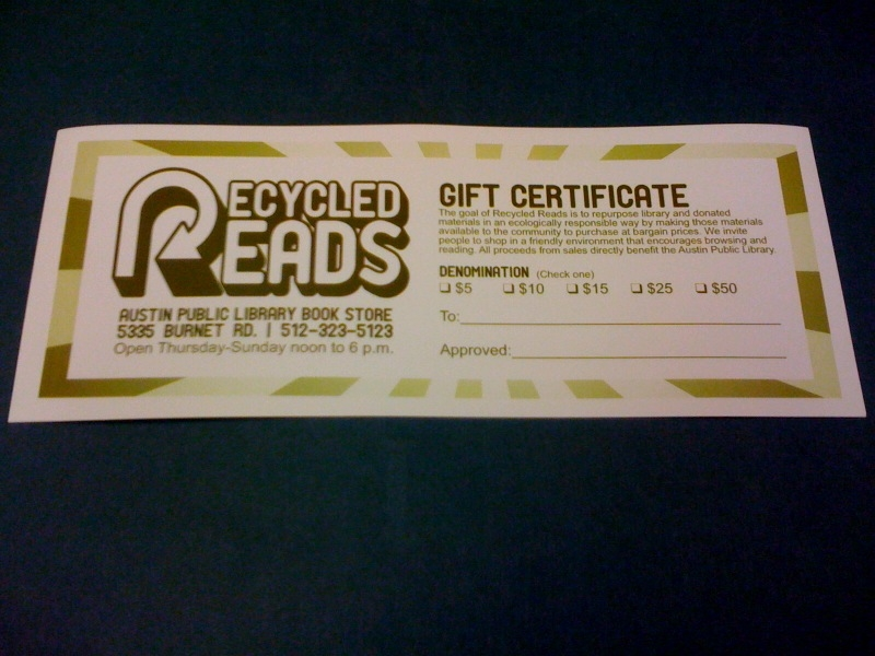 Photo of a Recycled Reads Gift Certificate